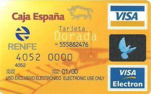 Tarjeta Visa electrón dorada Renfe
